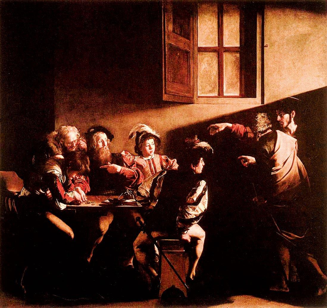 卡拉瓦喬1599年~1600年油畫《聖馬太蒙召》。(公有領域)