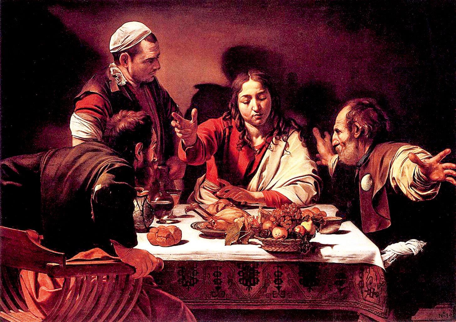 卡拉瓦喬1601年的作品《以馬忤斯的晚餐》,收藏於倫敦,英國國家美術館。(公有領域)