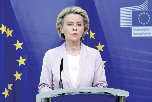 歐盟委員會主席馮德萊恩強調與中方仍有很多工作要做,如對電信、IT和衛生的市場准入。(ARIS OIKONOMOU/POOL/AFP via Getty Images)