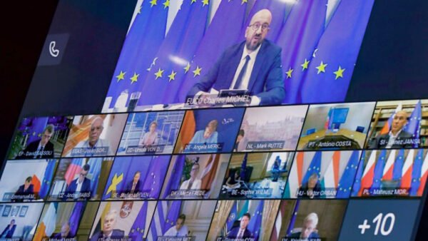 歐盟領導人與習近平9月14日以視訊的方式,舉行了中歐峰會。(AFP via Getty Images)