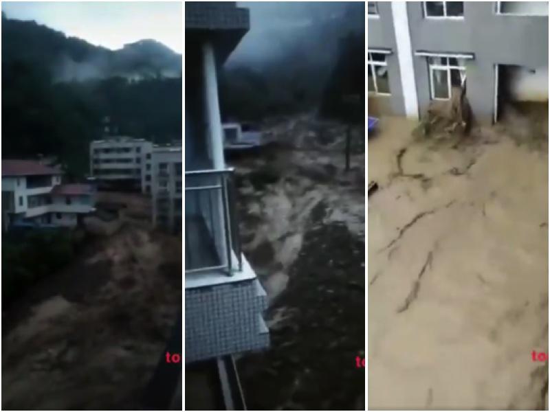 四川攀枝花連續兩日遭遇暴雨,引發洪災和泥石流。(影片截圖)