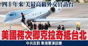 四十年來 美最高級外交官訪台 美國務次卿克拉奇抵台北
