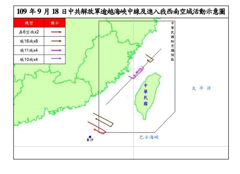 美國國務次卿克拉奇訪台之際,中共軍方突然宣佈在台灣海峽附近進行實戰演習,9月18日上午密集派出18架軍機越過海峽中線,從4個方向逼近台灣。(台灣國防部)