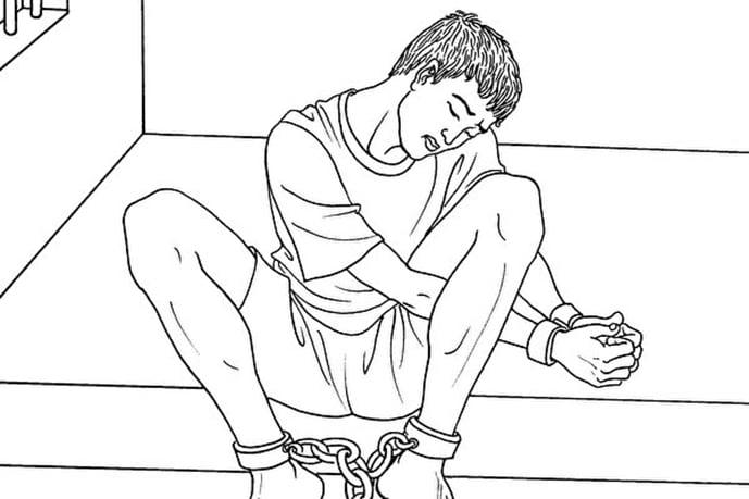 法輪功學員賴志強在冀東二監獄被迫害的生命垂危,處於植物人狀態,還被銬著重重的腳鐐。圖為中共酷刑示意圖:手銬腳鐐(明慧網)