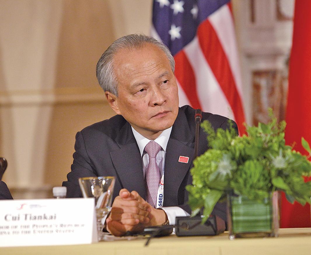 美國駐華大使布蘭斯塔德宣佈卸任,即將離開中國。中共駐美大使崔天凱坦言,美中關係已發生巨變,他每晚都難以入眠。(CHRIS KLEPONIS/AFP via Getty Images)