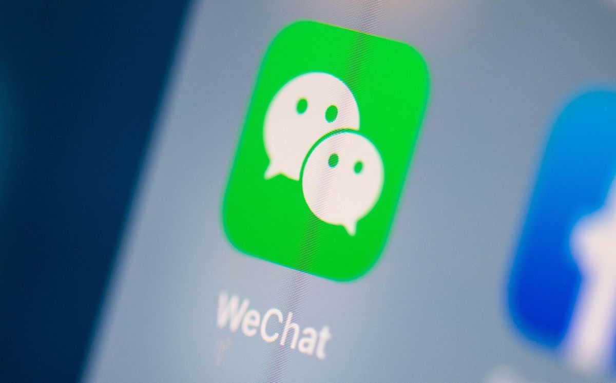 中國即時通訊App程式WeChat。(MARTIN BUREAU/AFP)
