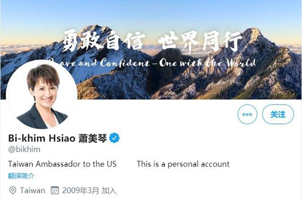 台灣駐美代表蕭美琴的個人推特帳號突然更名為「台灣駐美大使」(Taiwan Ambassador to the US)。(推特截圖)