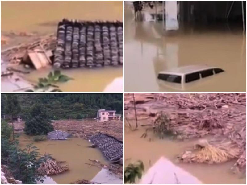 連日來,貴州受持續強降暴雨影響,造成房屋、農田被淹,交通受阻,停水停電。(視頻截圖)