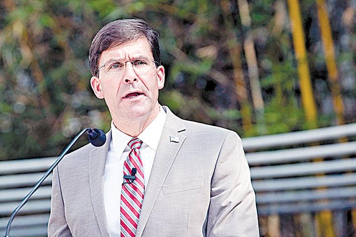 2020年9月16日,國防部長馬克艾斯培(Mark Esper)在加利福尼亞州聖塔莫尼卡的蘭德公司(RAND Corp.)討論了新的國防戰略、新一代作戰模式,尤其是針對來自中國的威脅。(Lisa Ferdinando/美國國防部)