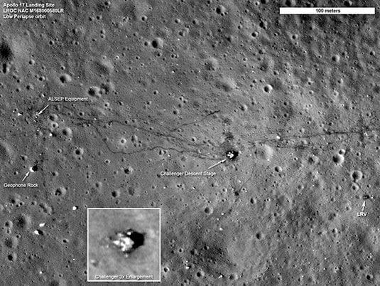「阿波羅17號」登陸地點的照片。(NASA)