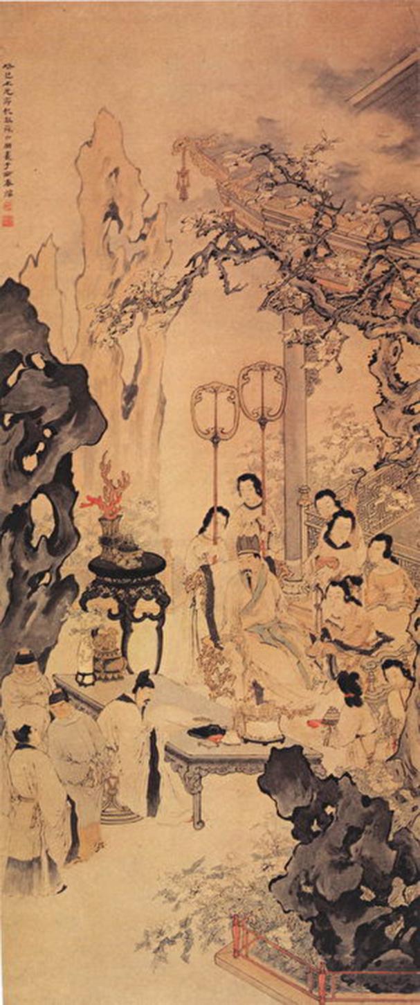 《李白作清平調圖》,取自清蘇六朋繪《清平調圖》,廣州美術館藏。