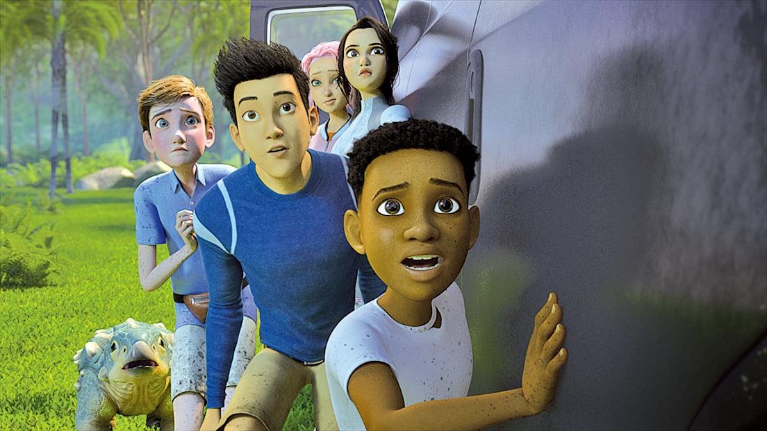 甲龍寶寶「小鼓」(左下角)外表可愛,影集用相當份量的篇幅,安排牠與孩子一同冒險,為影集增添看點。