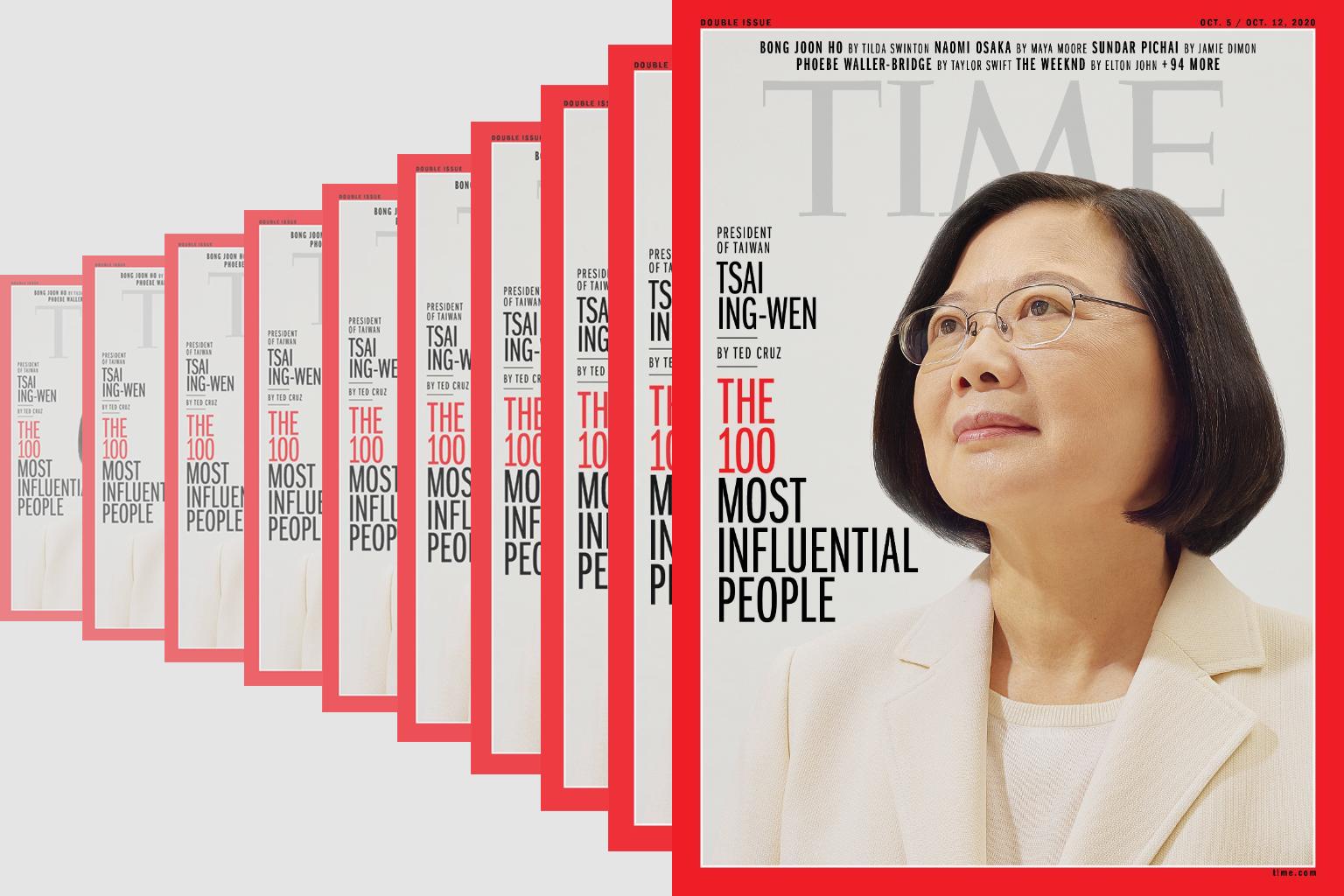 2020年,中華民國總統蔡英文再度入選《時代》雜誌百大風雲人物。(Time, 大紀元合成)