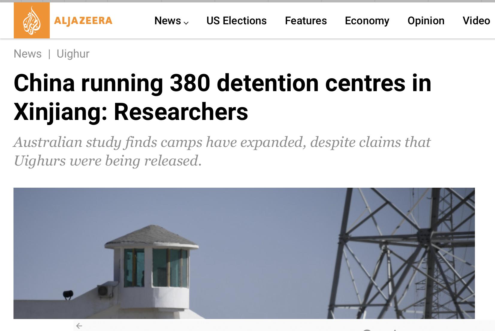 9月24日(週四),澳大利亞戰略政策研究所發布一項研究結果顯示,中共在新疆建了380多個疑似監獄的「再教育營」。(網絡截圖)