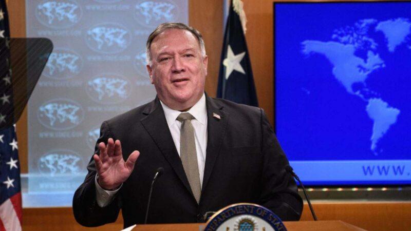 美國國務卿蓬佩奧9月22日接受訪問時,警告中共當局必須了解美國政府的嚴肅態度。(NICHOLAS KAMMPOOLAFP via Getty Images).jpg