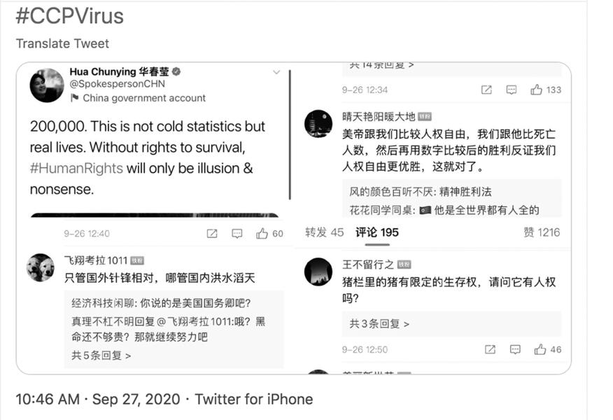 華春瑩發推諷美 陸網民評論大翻車