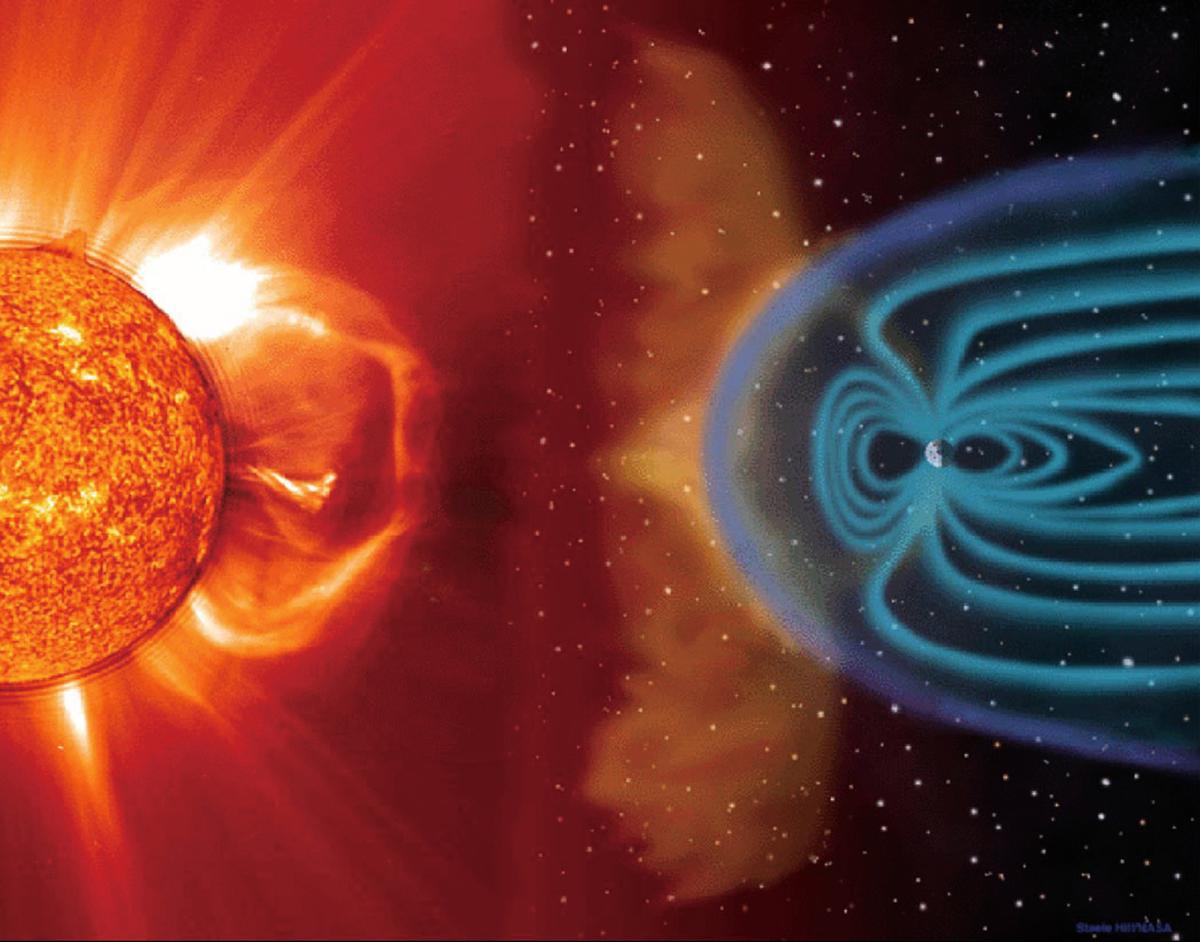 地球及其磁場受到強大太陽風暴影響的藝術設想圖。(NASA)