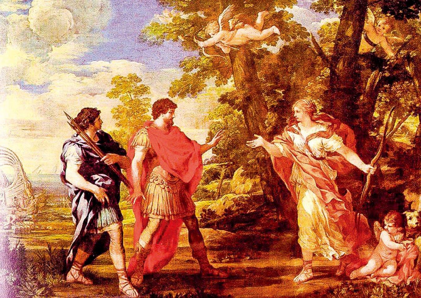 科爾托納的作品《維納斯以女獵人形象出現在埃涅阿斯面前》(Venus as Huntress Appears to Aeneas),布面油畫,藏於巴黎羅浮宮。(公有領域)