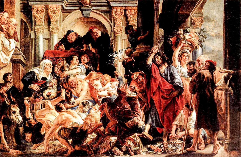 《基督驅逐聖殿裏商販》(Christ Driving the Merchants from the Temple)布面油畫,縱288釐米、橫436釐米。約爾丹斯,約作於公元1645~1650年間。(公有領域)
