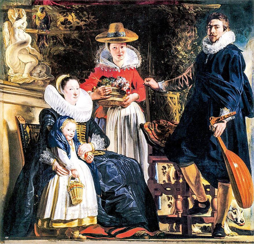 《雅各布約爾丹斯(Jacob Jordaens) 與妻子和女兒伊麗莎白的自畫像》。 繪製於公元1621~1622。 收藏於馬德里普拉多博物館。(公有領域)