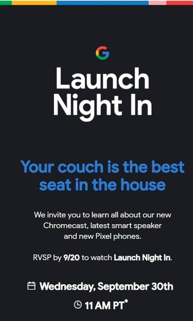 谷歌啟動之夜30日舉辦 發布Pixel 5 Chromecast 智能音箱新品