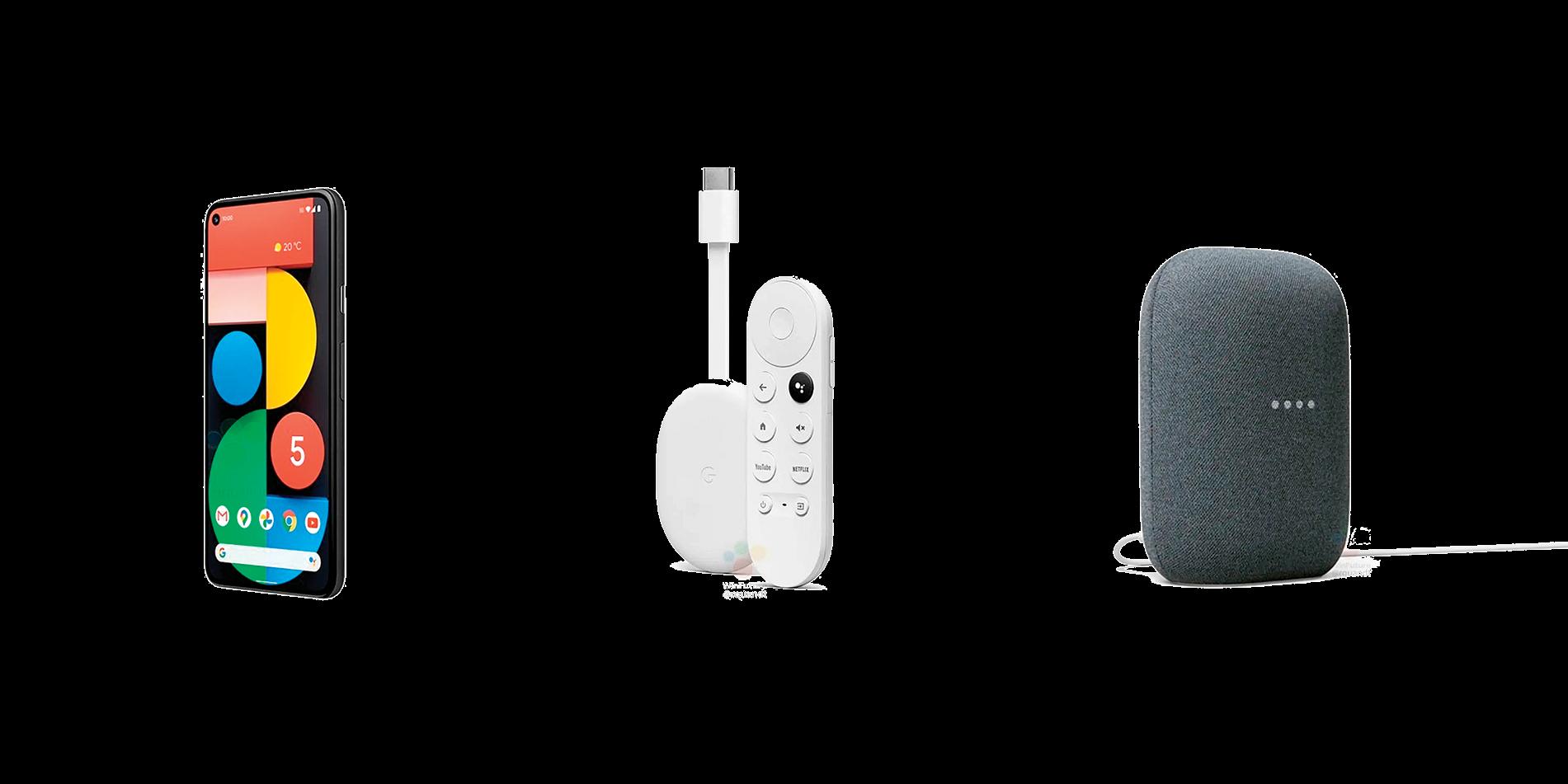 谷歌啟動之夜活動上,將發佈(左起)Pixel 5、流媒體設備Sabrina和新款Nest智能音箱。( WinFuture.de截圖)