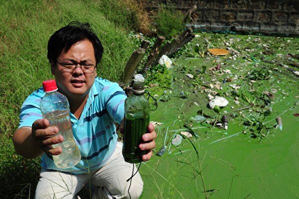 2011年9月14日,環保活動家吳立紅展現宜興市江蘇省清水(L)和太湖(R)的藻類污染水域之間的差異。吳立紅當年因為揭露太湖流域水質污染,遭當時無錫市委書記楊衛澤迫害,被判入獄3年。(AFP PHOTO/MARK RALSTON)