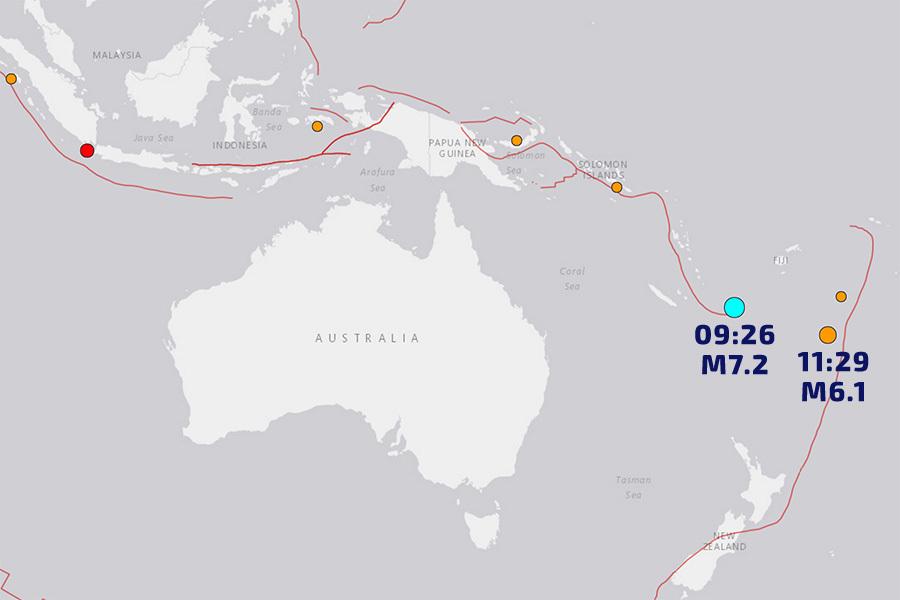 太平洋地區今早發生兩次強烈地震,其中瓦努亞圖外海的地震規模達到7.2級。(美國地質調查局提供)
