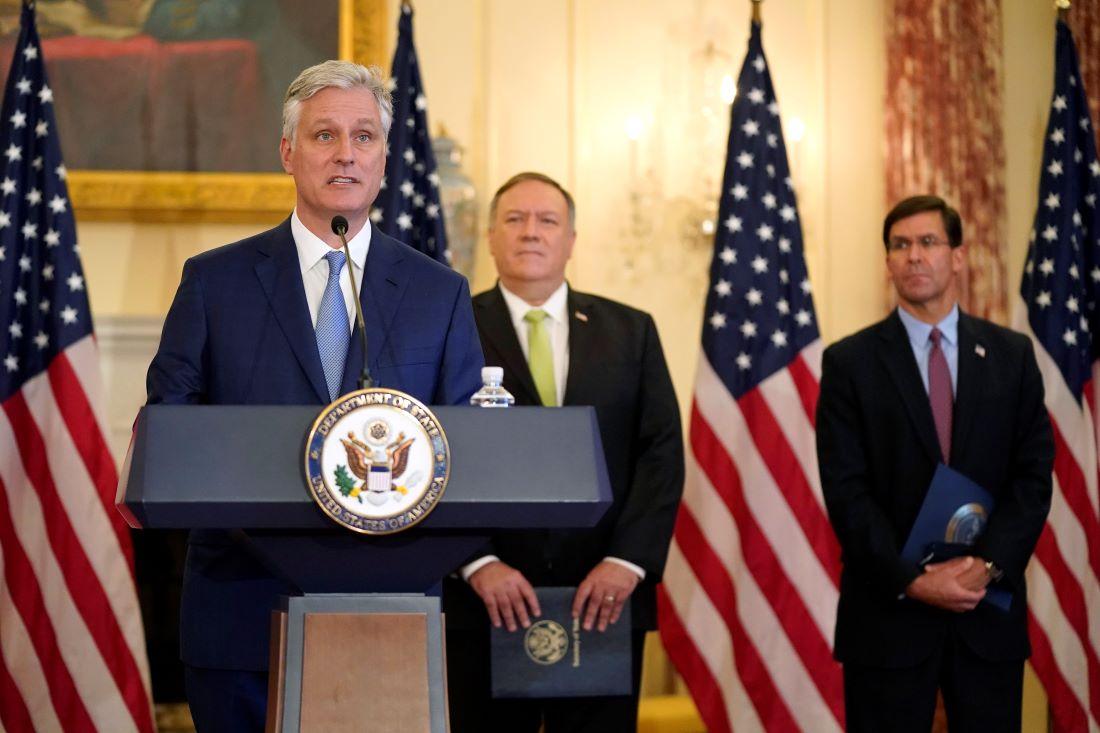 白宮國家安全顧問奧布萊恩稱,中共應該自己主動出來,為病毒大流行承擔責任。圖為奧布萊恩講話資料照。(Photo by Patrick Semansky / POOL / AFP)