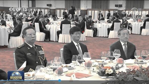 中共政法委書記孟建柱(中間)現身「十一」招待會。(影片截圖)