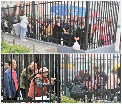 被封閉中的吉林師大學生只能隔著柵欄同家長見面。(受訪者人提供)
