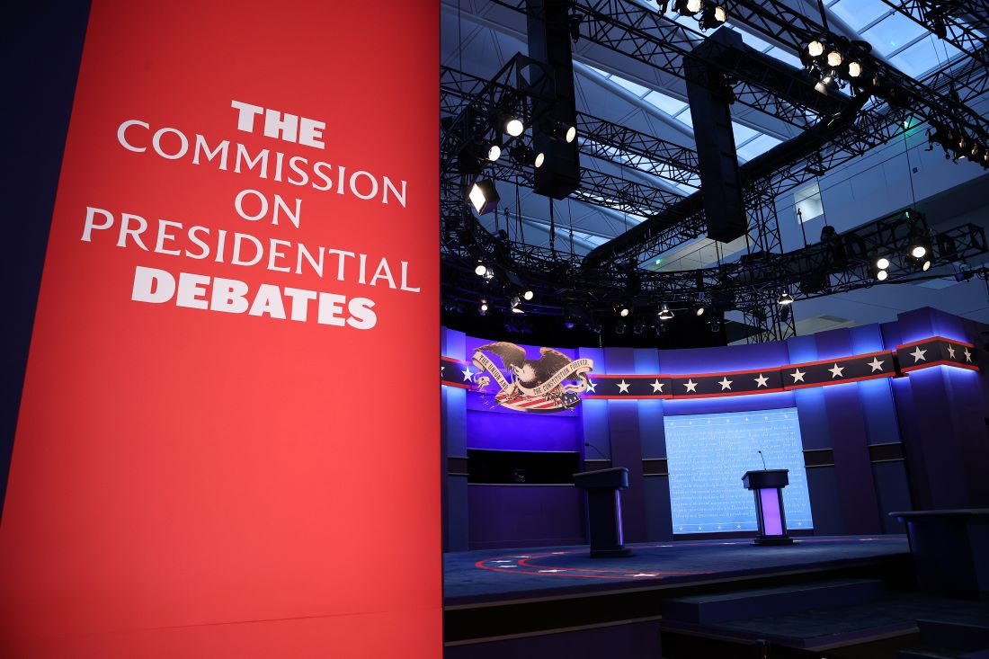 特朗普和拜登的首場辯論2020年9月29日在俄亥俄州克利夫蘭(Cleveland)舉行,此為辯論現場。 (Win McNamee/Getty Images)