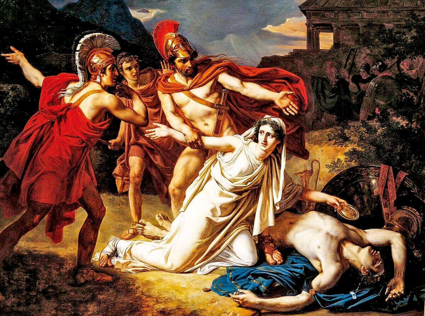 塞巴斯蒂安諾布林(Sébastien Norblin)的作品《安提戈涅埋葬波呂涅克斯》(Antigone Buries Polynice),1825年。法國美術學院,巴黎。(公有領域─美國)