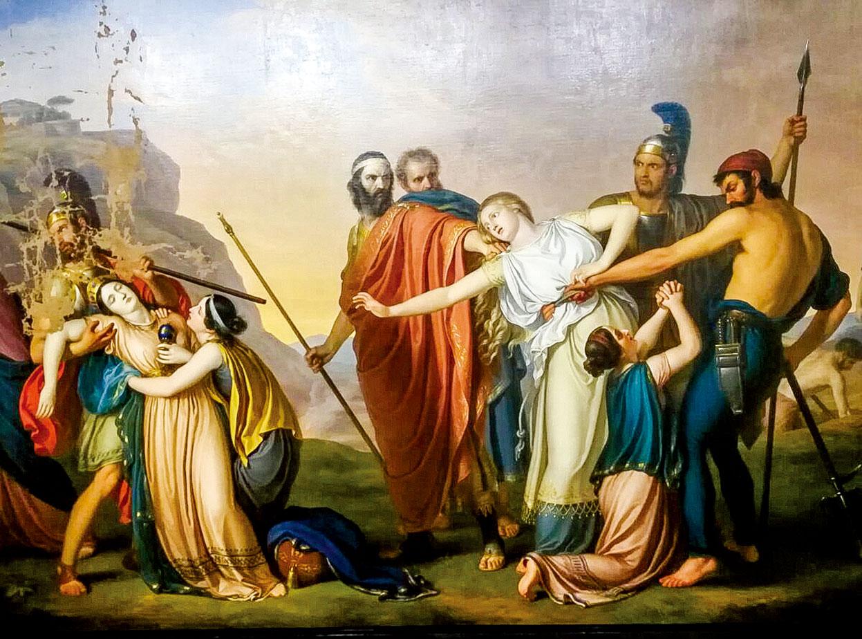 朱塞佩迪奧蒂(Giuseppe Diotti)的作品《克瑞翁王判安提戈涅死刑》(Antigone Condemned to death by Creon),1845年。油彩、畫布。(公有領域)