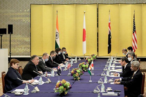 10月6日美、日、澳、印舉行「四方同盟」會議。(Photo by Kiyoshi Ota/POOL/AFP)