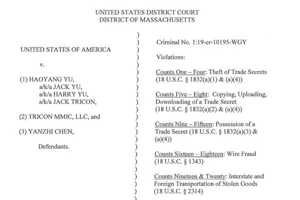 余浩洋(Haoyang Yu,音譯)、陳彥之(Yanzhi Chen,音譯)及他們合辦的公司Tricon被控24項罪。(起訴書截圖)