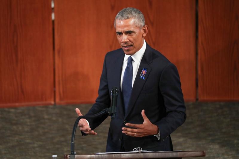 2020年7月30日,奧巴馬出席一個葬禮。(Alyssa Pointer-Pool/Getty Images)