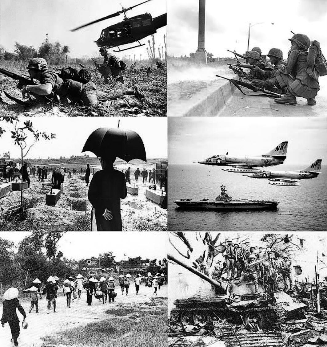 自左上順時針方向:德浪河谷的美軍;1968年南越陸軍保衛西貢;北部灣事件後兩架A-4天鷹式攻擊機對北越進行轟炸;1972年復活節攻勢中南越陸軍奪回廣治;第一次廣治戰役中逃散的平民;1968年戊申順化屠殺300名遇難者下葬。