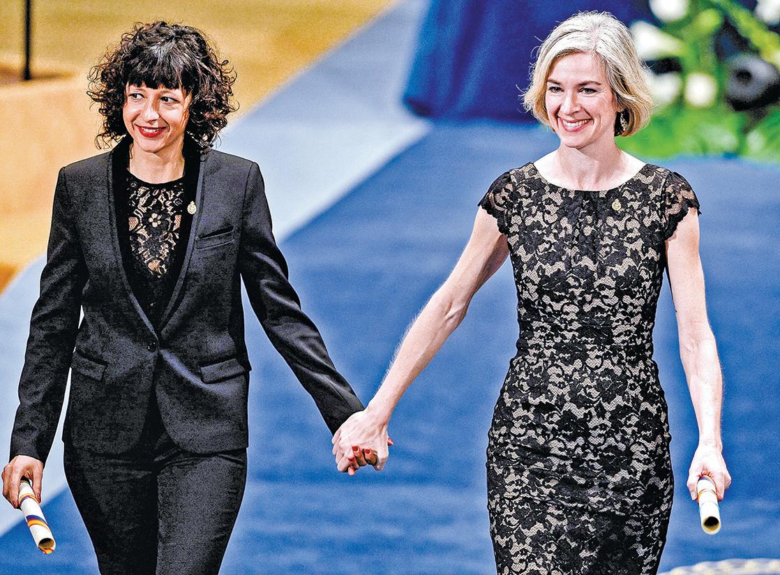 2020年諾貝爾化學獎首度頒給全女性組合:法國籍的夏朋蒂(左)與美國籍的杜德納(右)。(AFP)