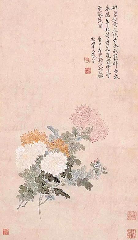 清初花卉名家惲壽平在重九剛過後畫菊,題款戲題陶淵明東籬採菊、白衣酒典故(公共領域)