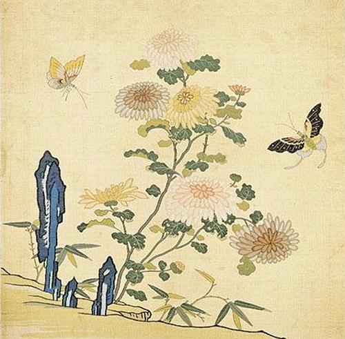 園林盡掃西風去,唯有黃花不負秋!圖為《刻絲花卉冊.菊花雙蝶》。(國立故宮博物院藏)