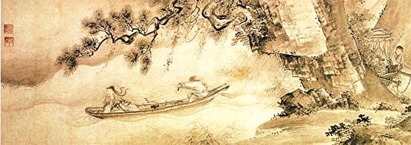 陶淵明以《歸去來辭》明志,辭官歸隱,一路上「舟遙遙以輕颺,風飄飄而吹衣,問征夫以前路,恨晨光之曦微」。圖為明.李在《歸去來兮圖》。(公共領域)