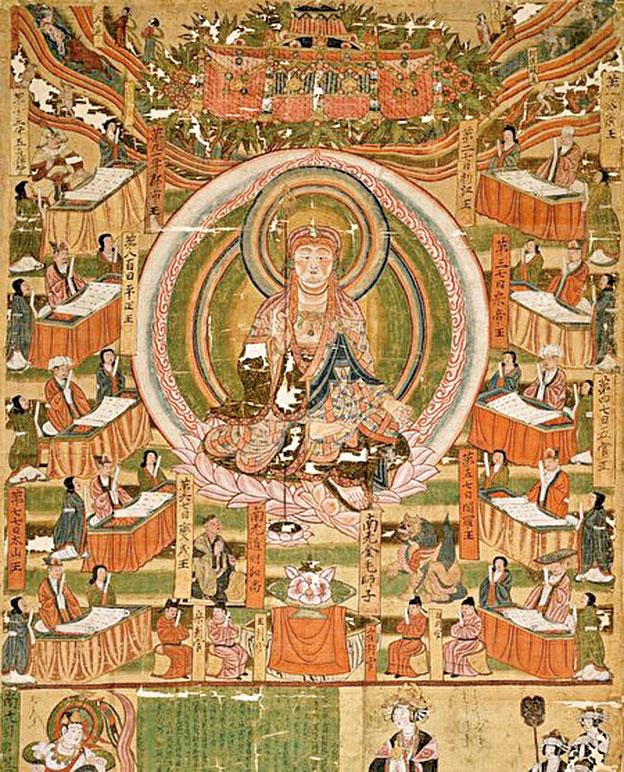蘇東坡聽罷李家女孩的經歷,不禁想:最後那位僧人或許就是人們說的地藏菩薩。圖為10世紀敦煌《地藏十王圖》,收藏於巴黎集美博物館。(公有領域)