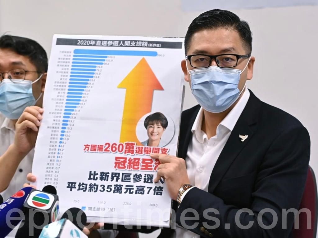 香港民主黨立法會議員林卓廷(右)在對方國珊的競選開支進行調查後於10月11日召開記者會,要求方國珊公開收據。(宋碧龍 / 大紀元)