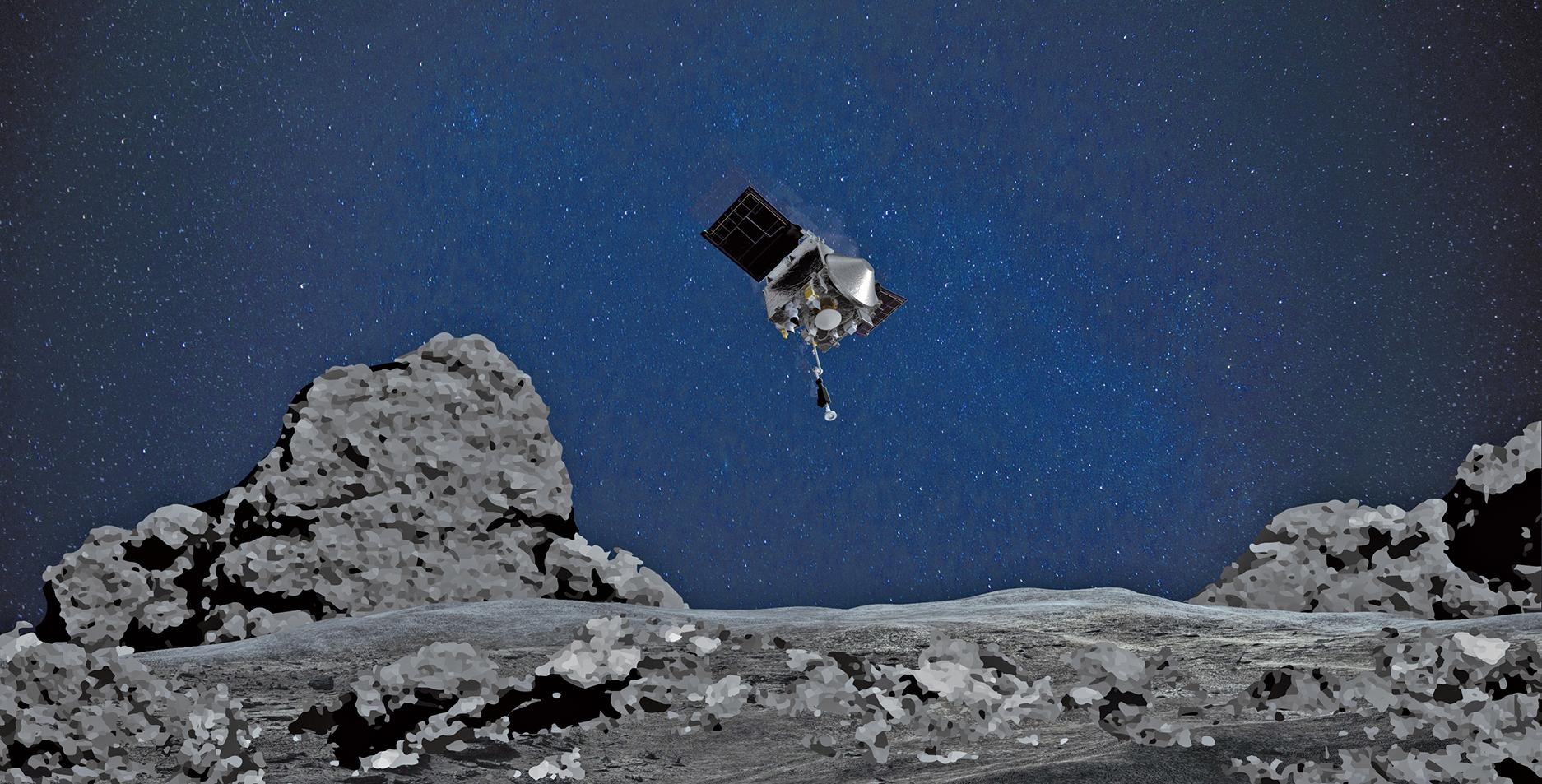 NASA探測器OSIRIS-Rex接近小行星本努(Bennu)示意圖。(NASA/Goddard/University of Arizona)