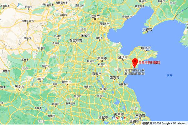 山東青島新增的無症狀感染者與青島市胸科醫院相關,該醫院已停診。圖中圖標處為青島市胸科醫院。(谷歌地圖)