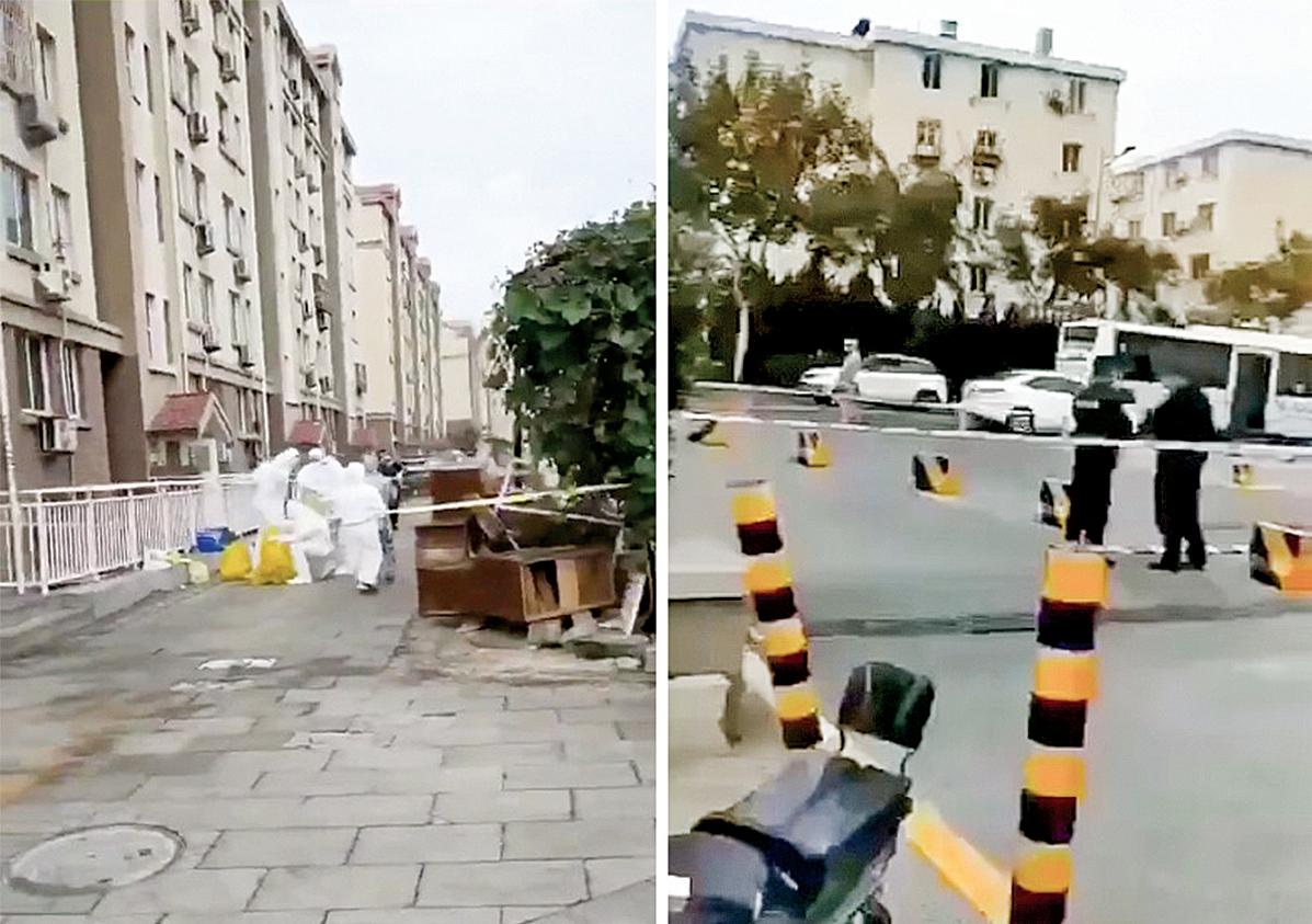 網曝青島染疫者居住小區被封閉(左),青島第三人民醫院也已不對外接診(右)。(影片截圖)