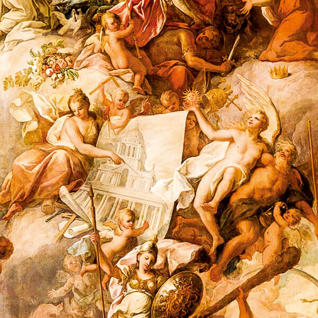 彩繪畫廳的壁畫《和平自由對抗暴政的勝利》細節,其中建築之神身著金色衣裳,指向彩繪畫廳的圖畫。在底端,希臘女神雅典娜身著鎧甲,眼光朝下,準備好抵禦邪惡侵犯王國。(Old Royal Naval College提供)