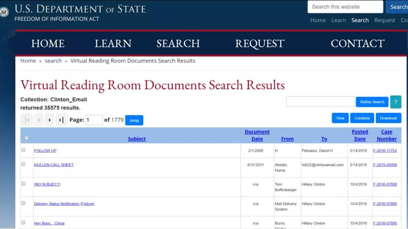 美國國務院日前在其官網上公佈了前國務卿希拉莉刪掉的三萬多份電子郵件。(美國國務院網站截圖)