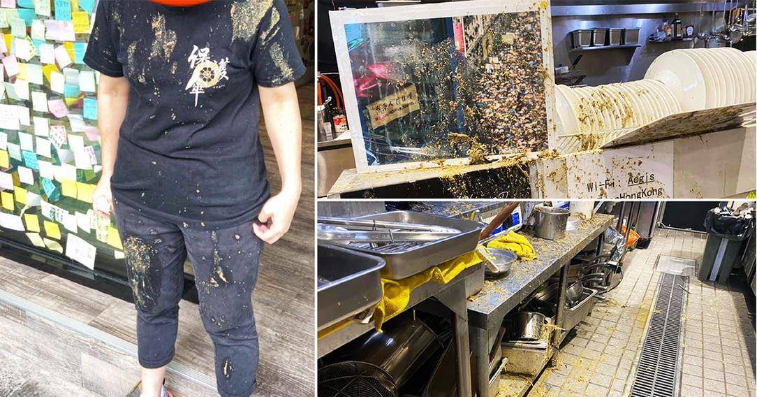 「保護傘餐廳」被潑雞糞 台灣民眾送花慰問